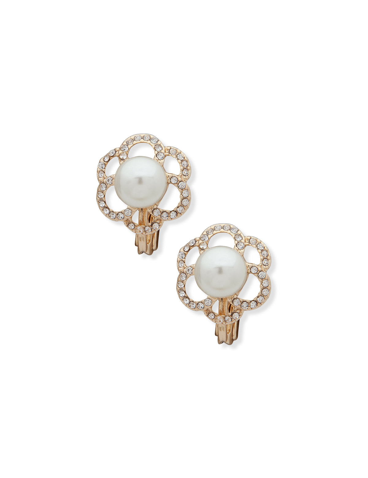 gold tone pearl button earring with open work pave rim and clip closure