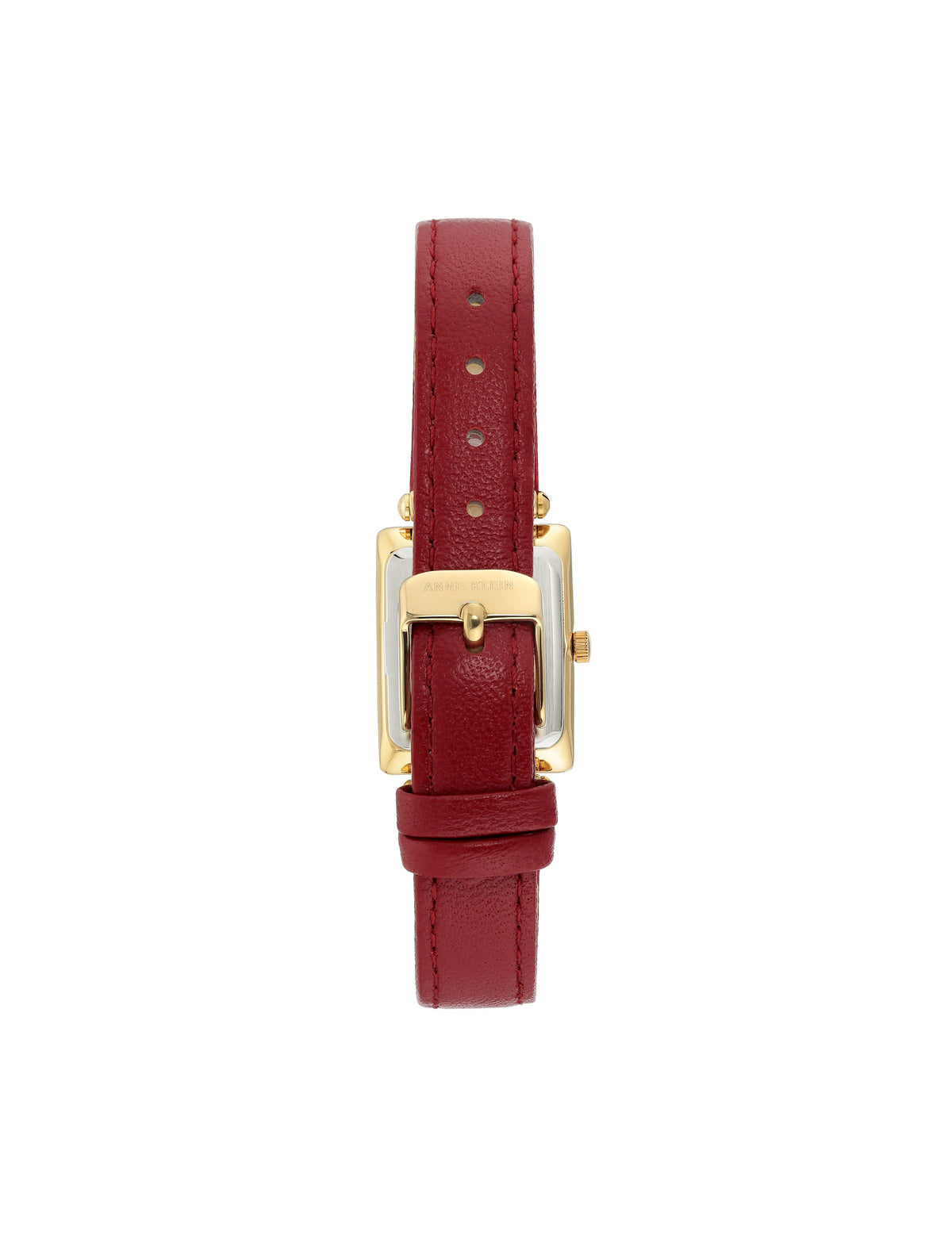 gold-tone red leather strap watch rectangular case