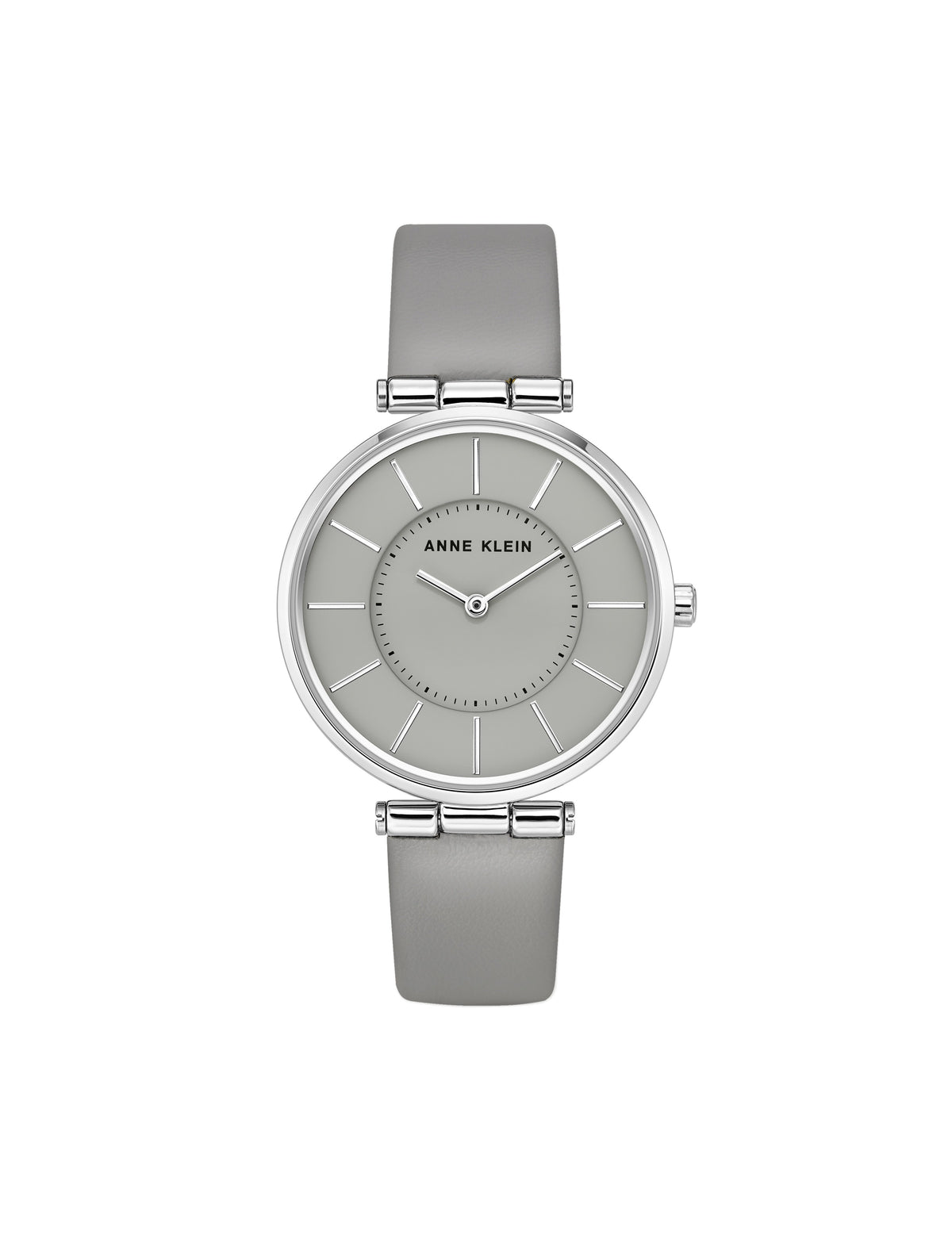 grey silver leather strap watch