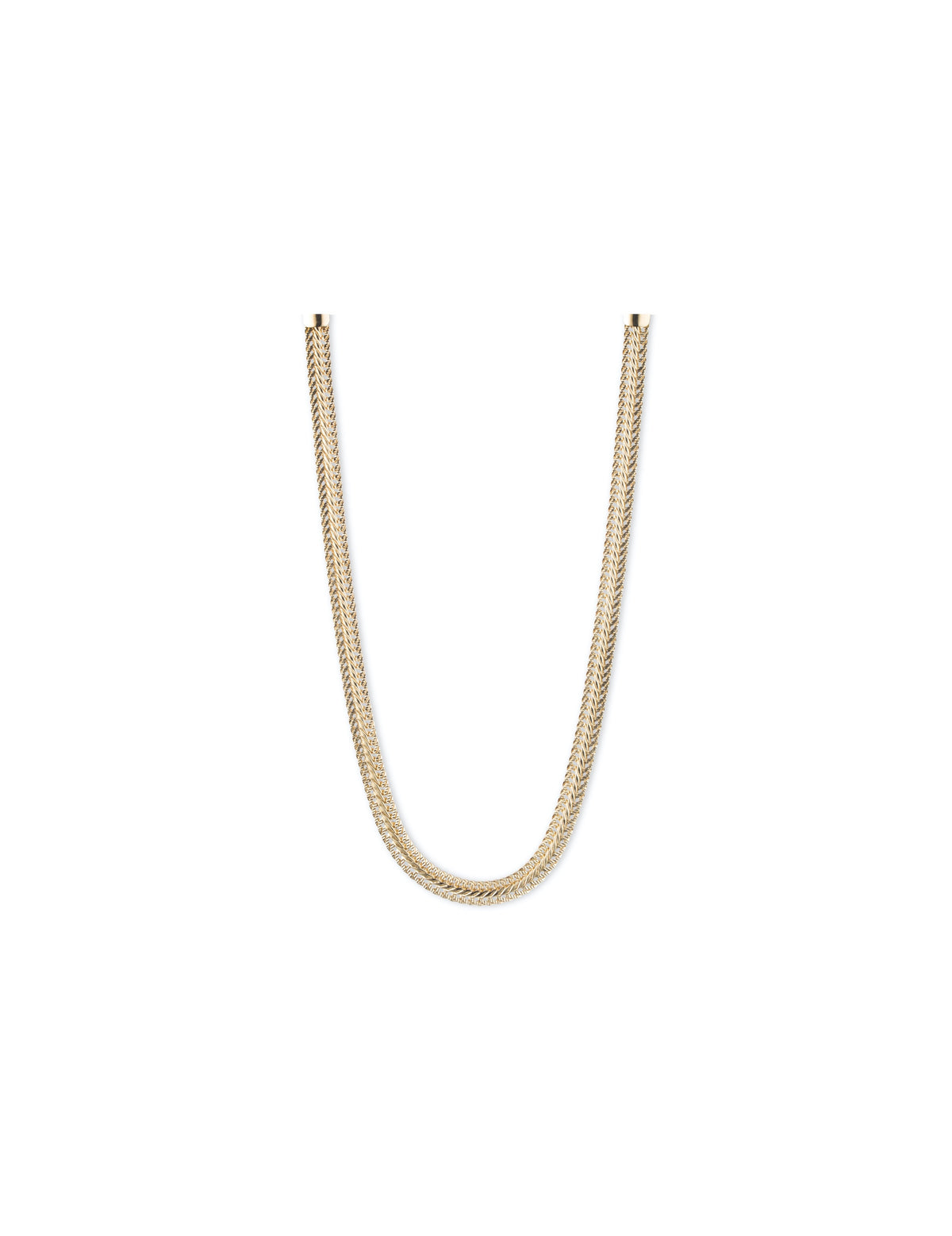 herringbone chain gold tone necklace