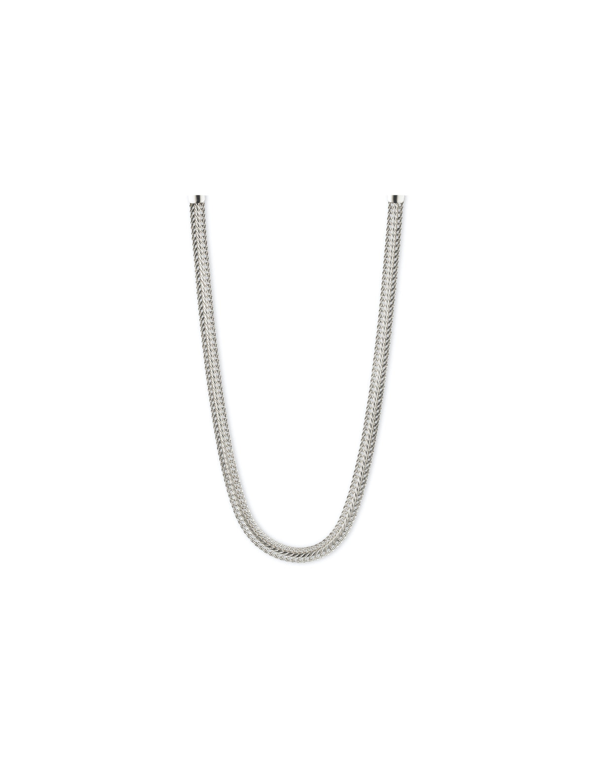 herringbone chain silver tone necklace