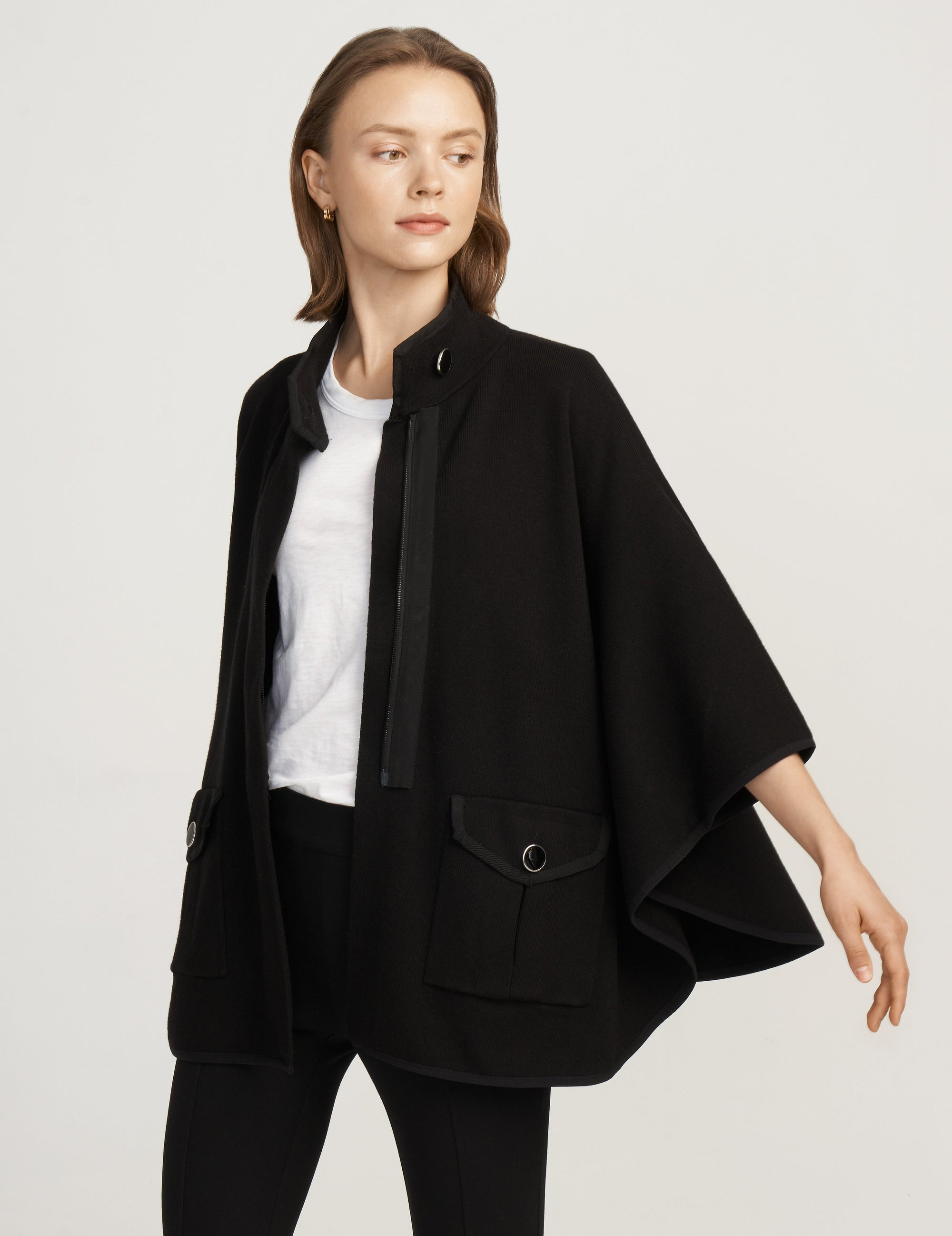 Anne Klein Black Zip Front Cape With Pockets