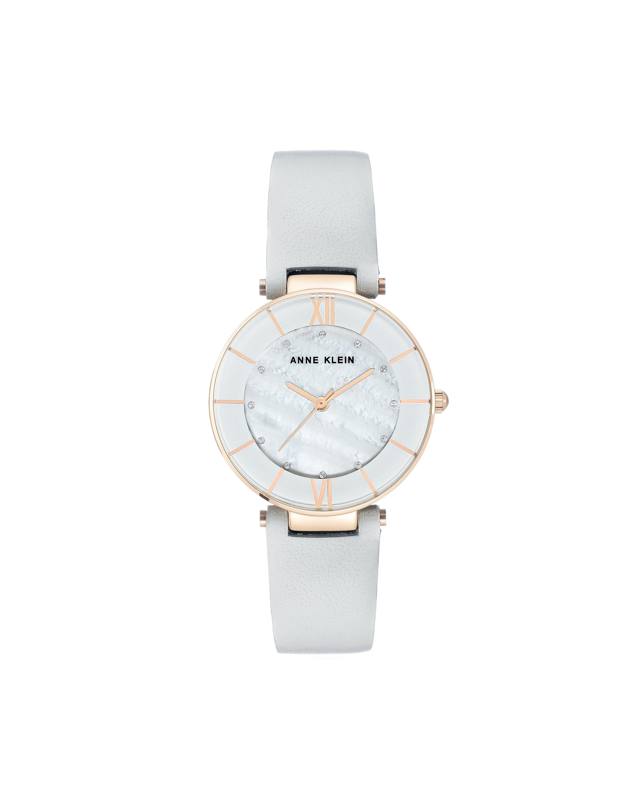 light grey rose gold-tone swarovski crystal accented rose leather strap watch