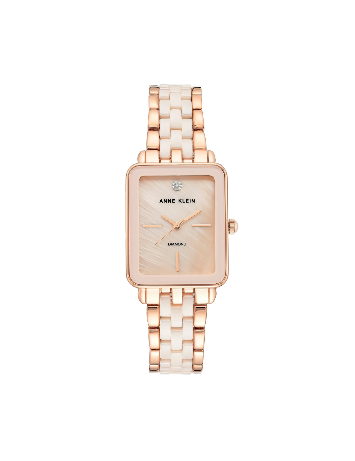 light pink rose gold genuine diamond dial ceramic bracelet watch rectangular case