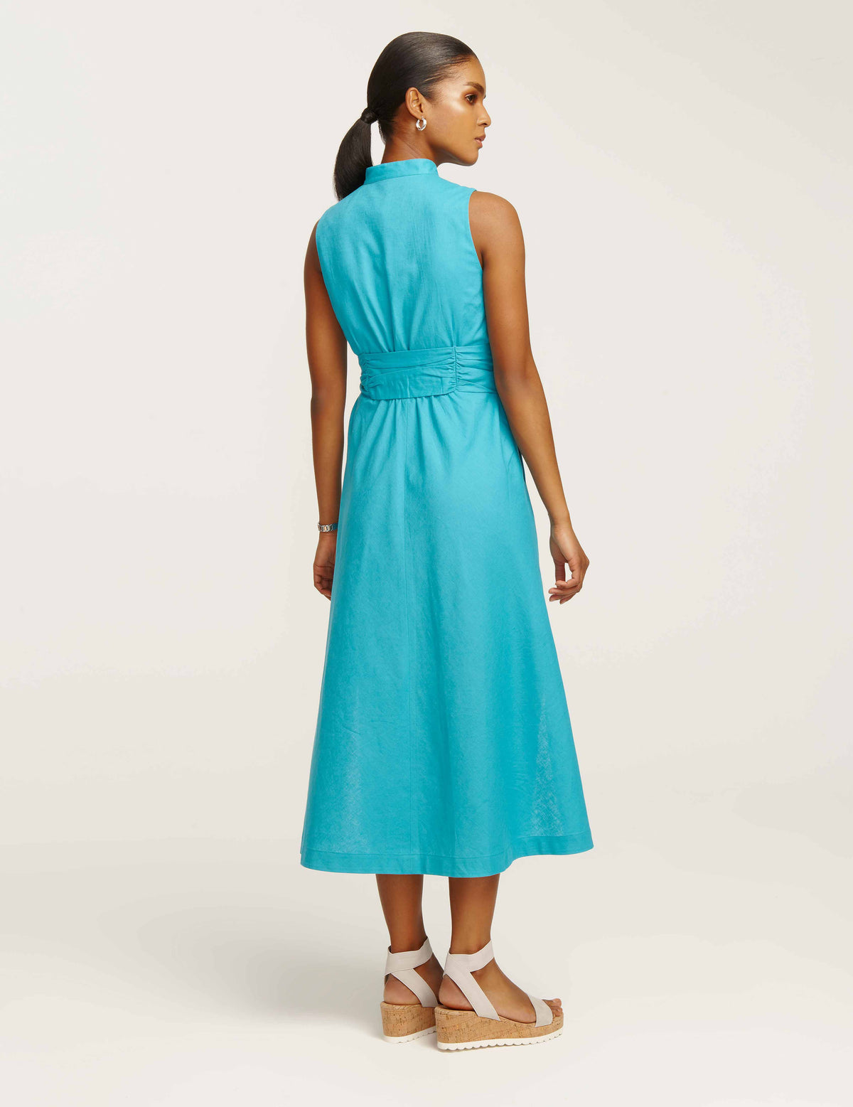 Linen Midi Dress with Attached Sash