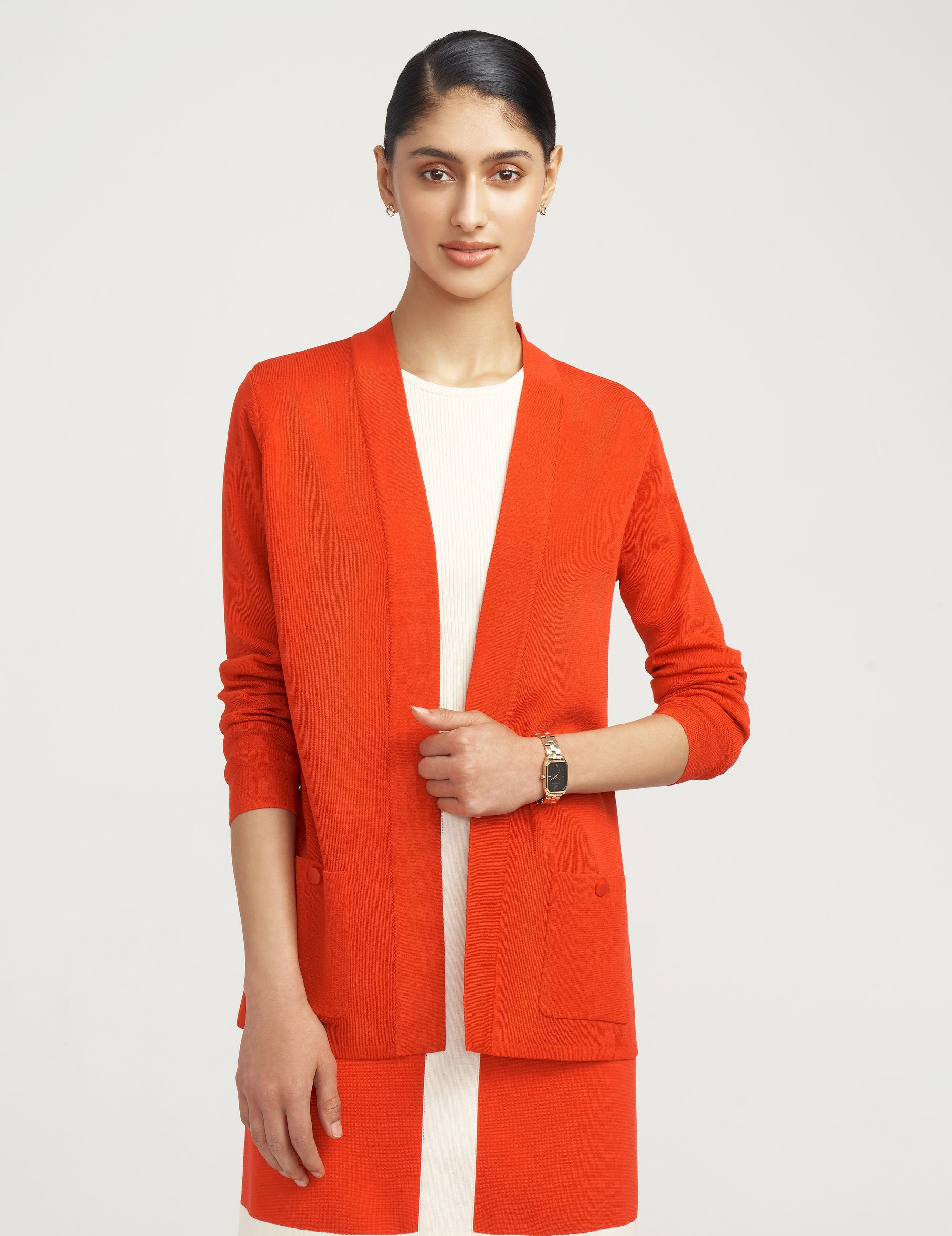 Anne Klein Two Pocket Malibu Cardigan in Poppy
