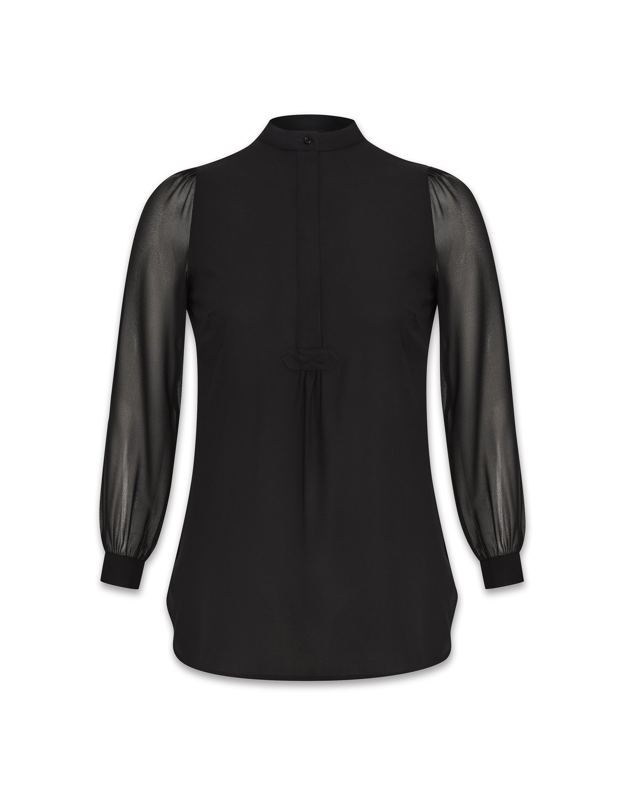 Anne Klein Black Combo Sleeve Poet Blouse