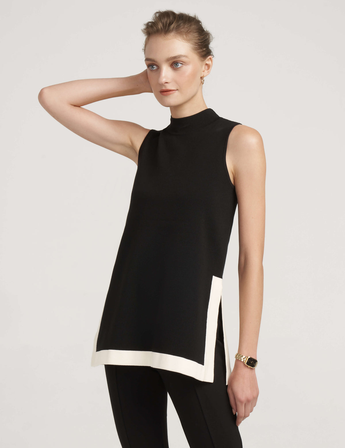 Mock Neck Sleeveless Color Block Tunic