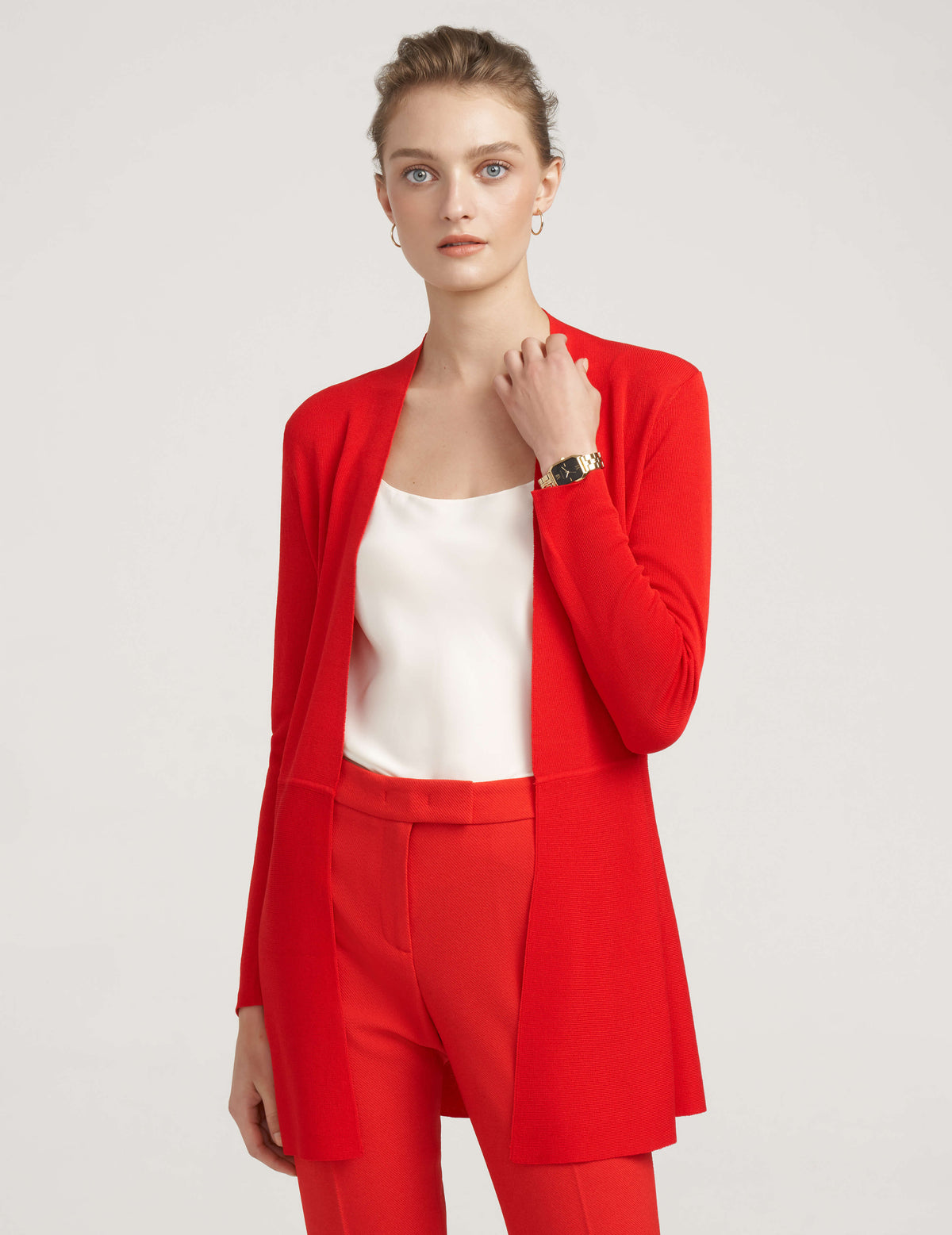 Monterey Long Waist Seamed Cardigan Rouge