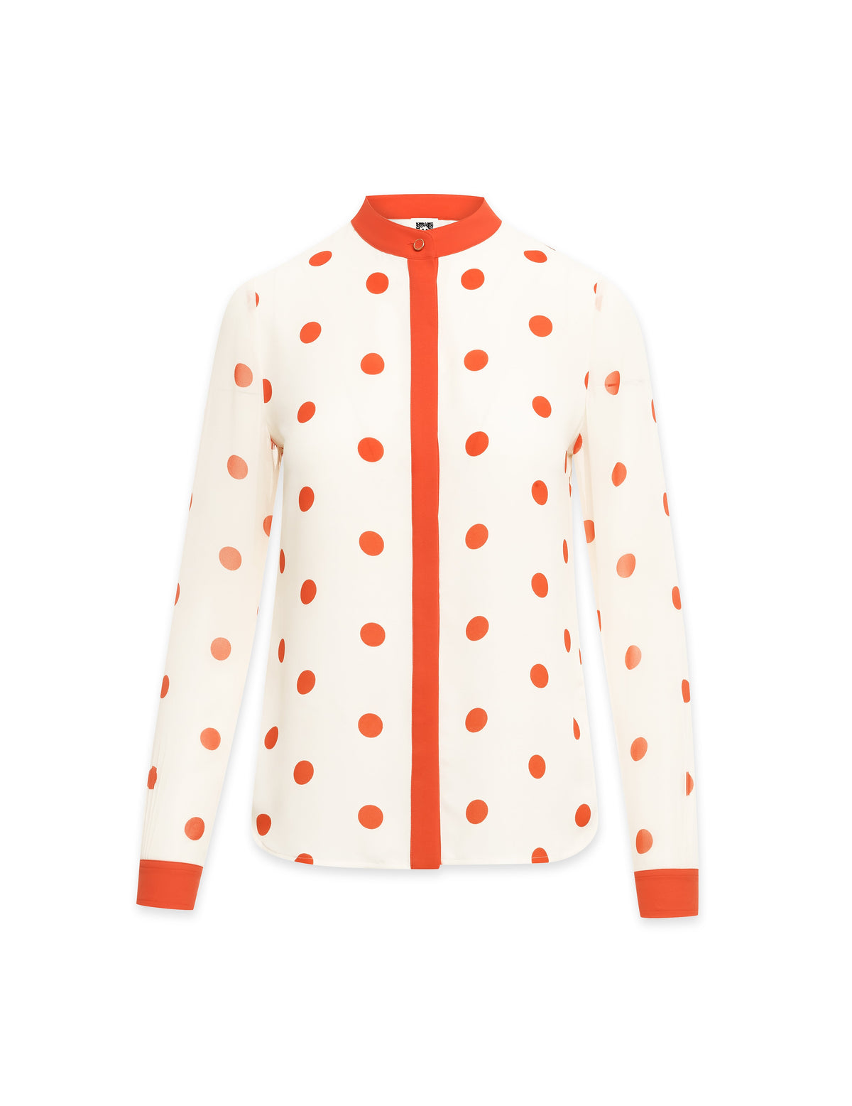 Anne Klein Nathalie Poked Dot Collarless Oxford Blouse Anne White/Poppy