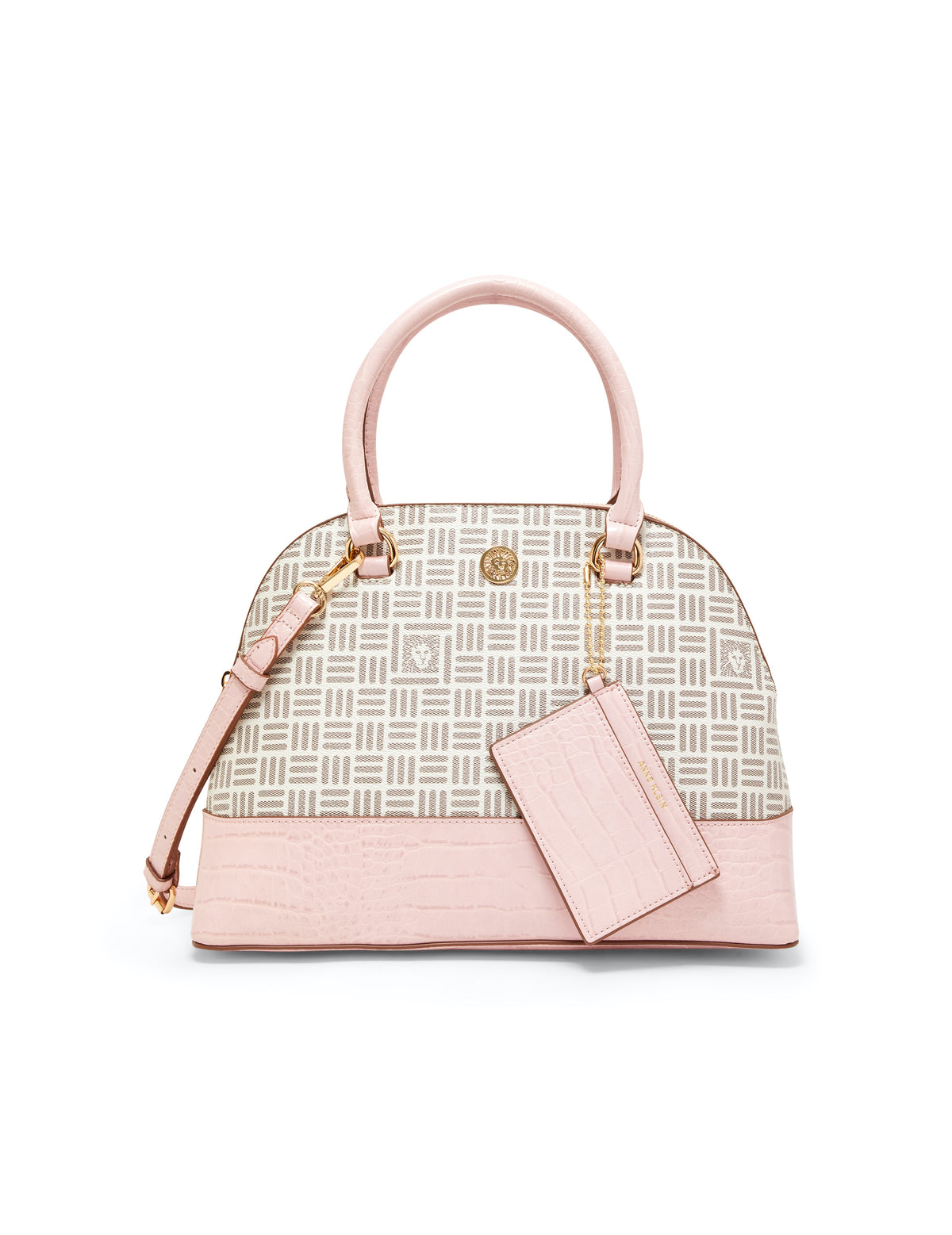 Triple Compartment Oyster/Rose Satchel Bag