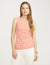 Anne Klein Pearly Dot Side Twist Sleeveless Top Anne White/Poppy