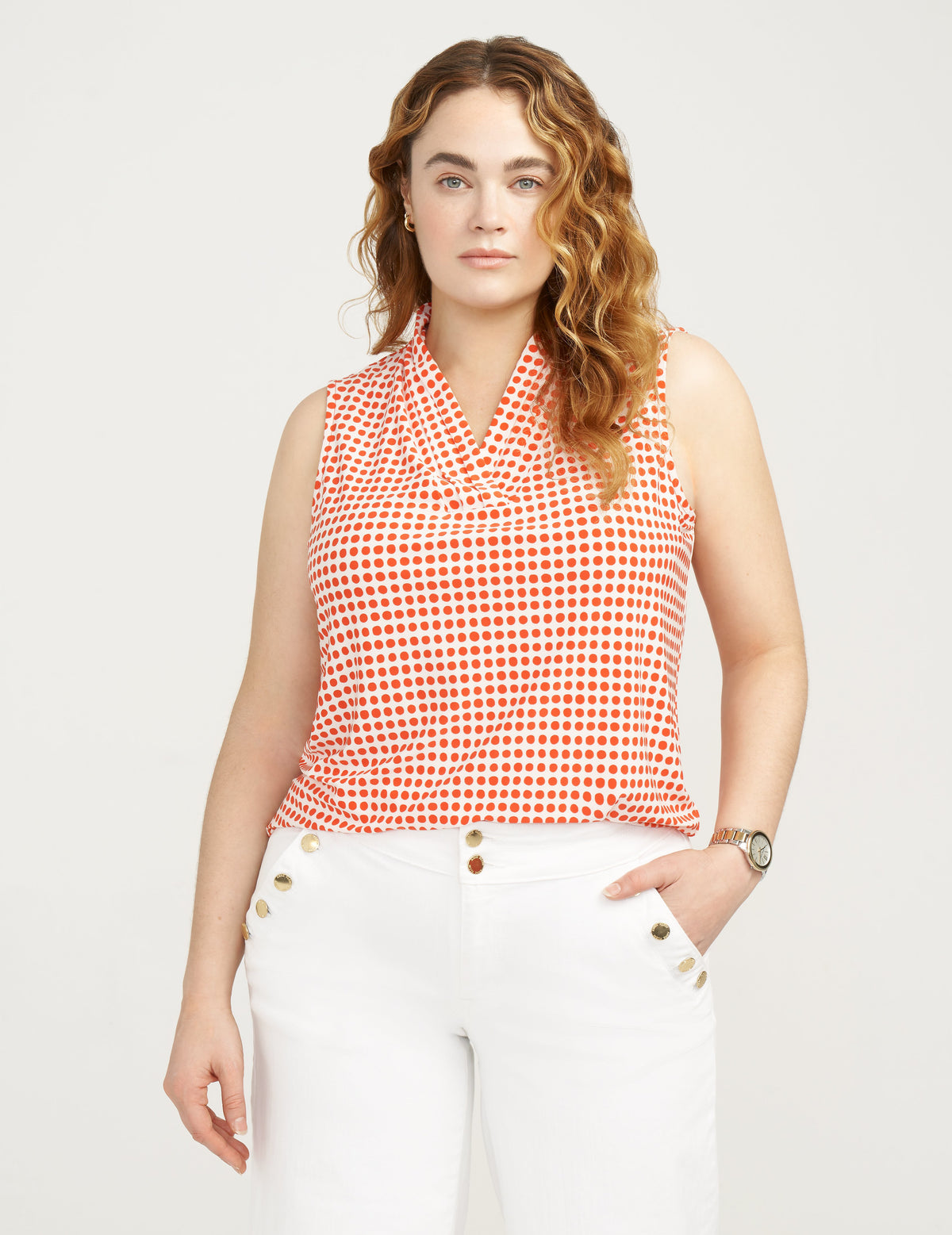 Anne Klein Plus Size Pearly Dot Triple Pleat Top Anne White/Poppy