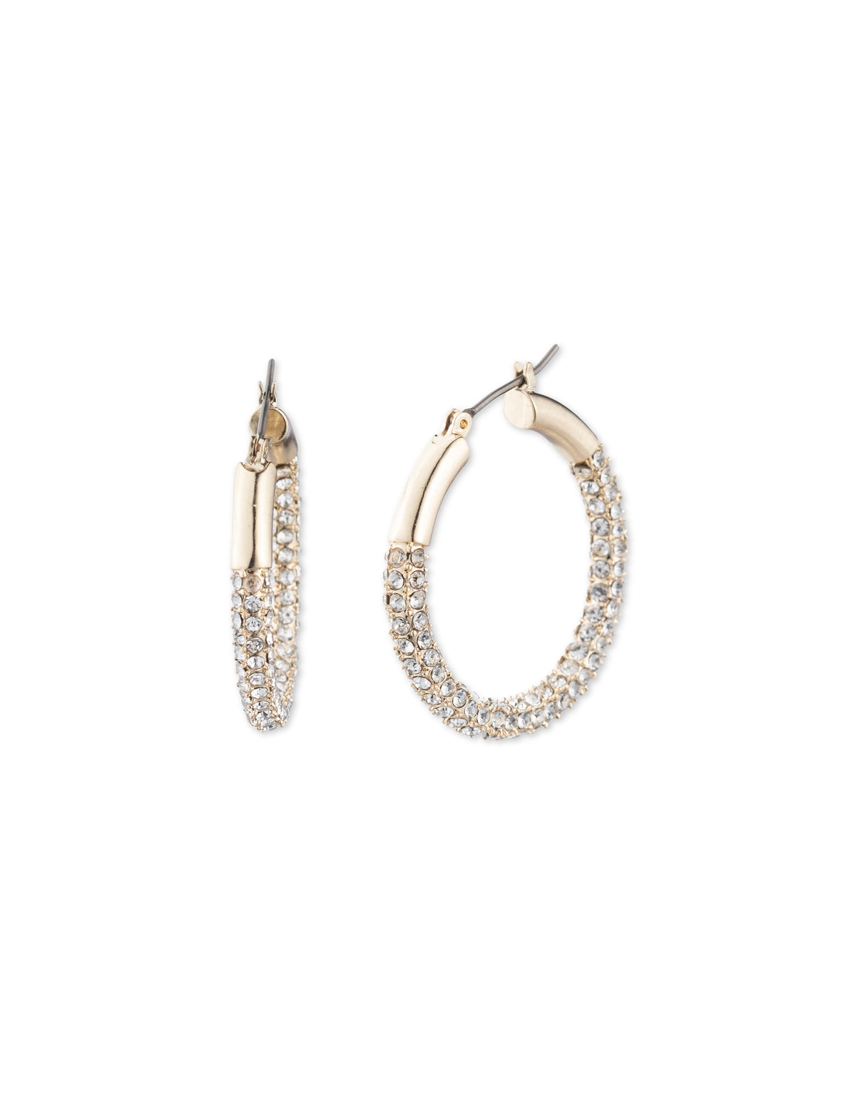 Gold-Tone Pave Crystal Hoop Earrings