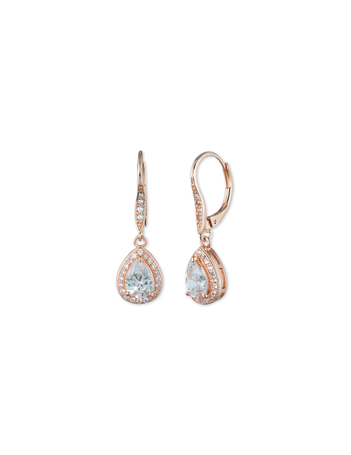 Rose Gold-Tone Cubic Zirconia Halo Drop Earrings