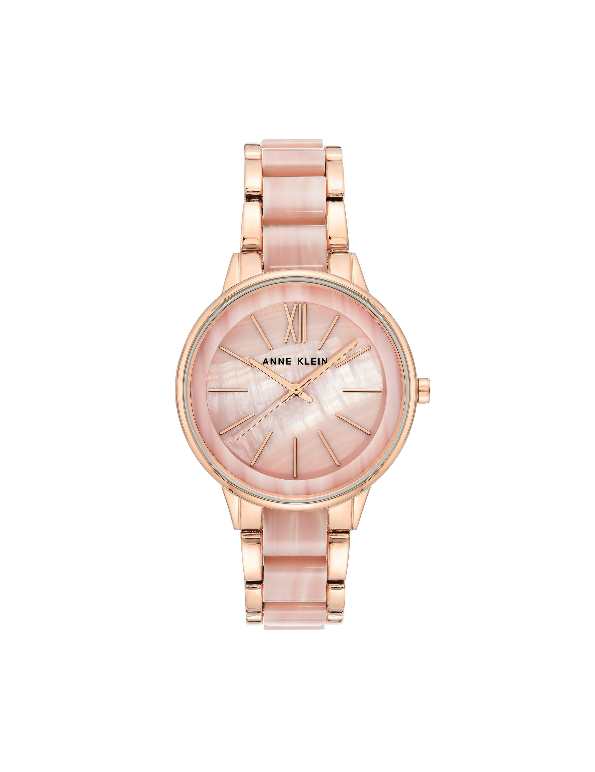 pink rose gold-tone resin bracelet watch