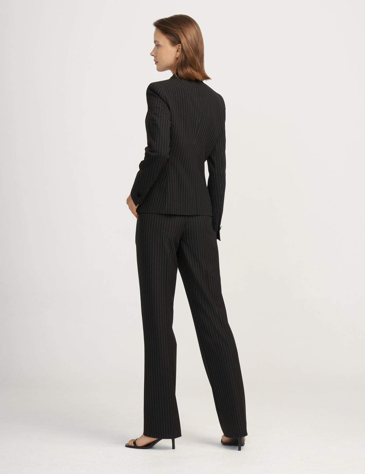 Anne Klein Pinstripe Peak Lapel Jacket in Anne Black/Anne White