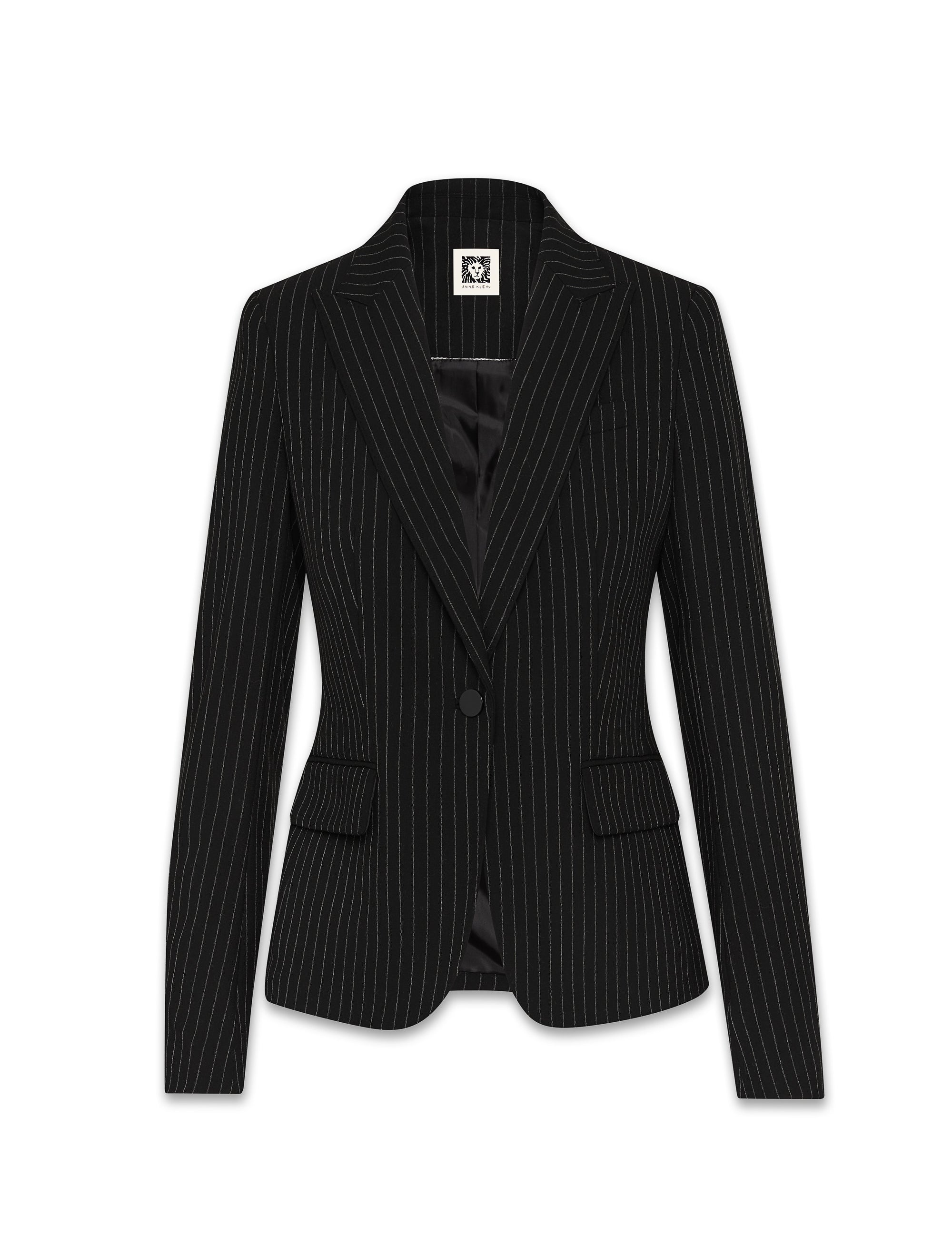 Anne Klein Black/White Pinstripe Peak Lapel Jacket