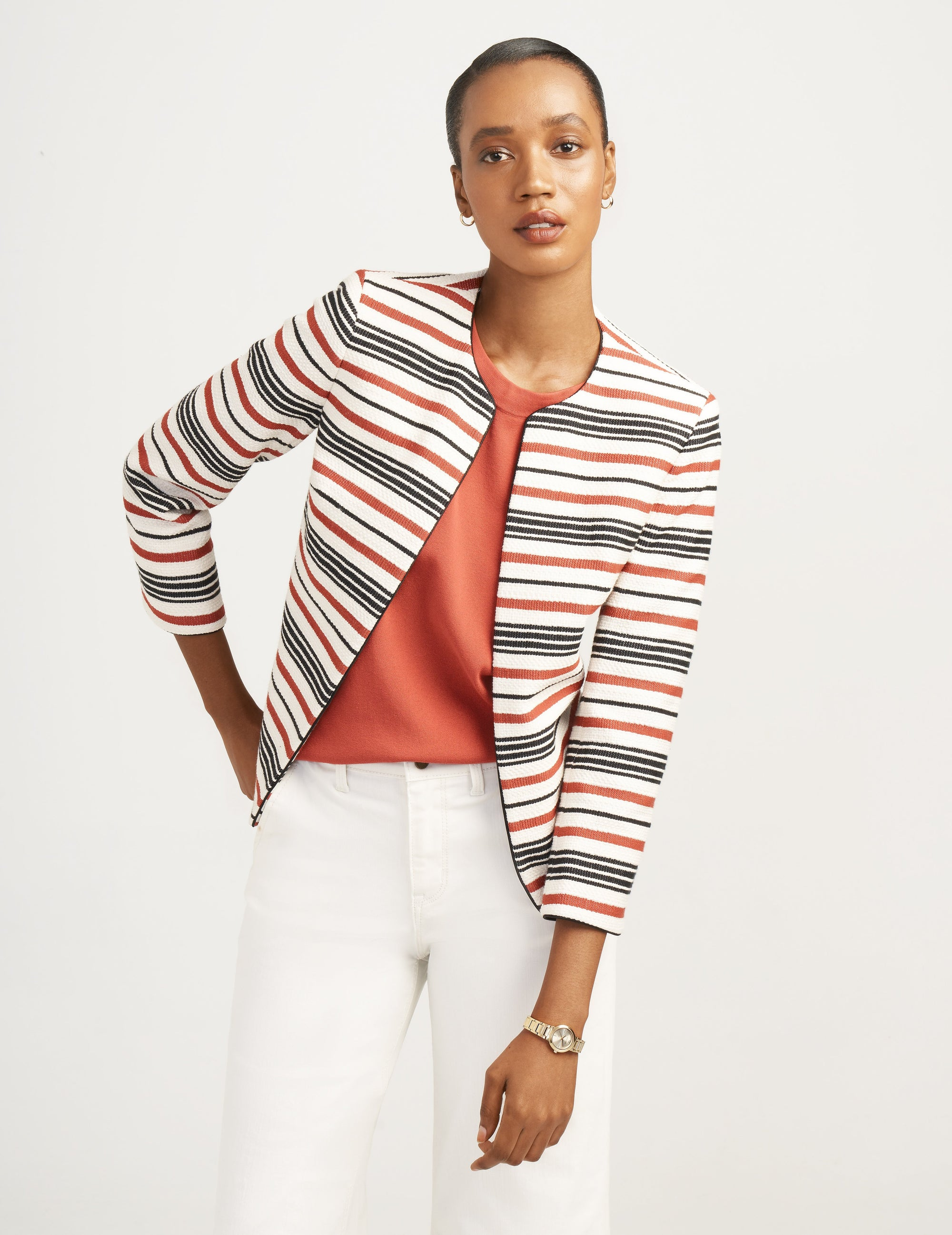 Anne Klein Cinnamon Combination Stripe Tweed Jacket