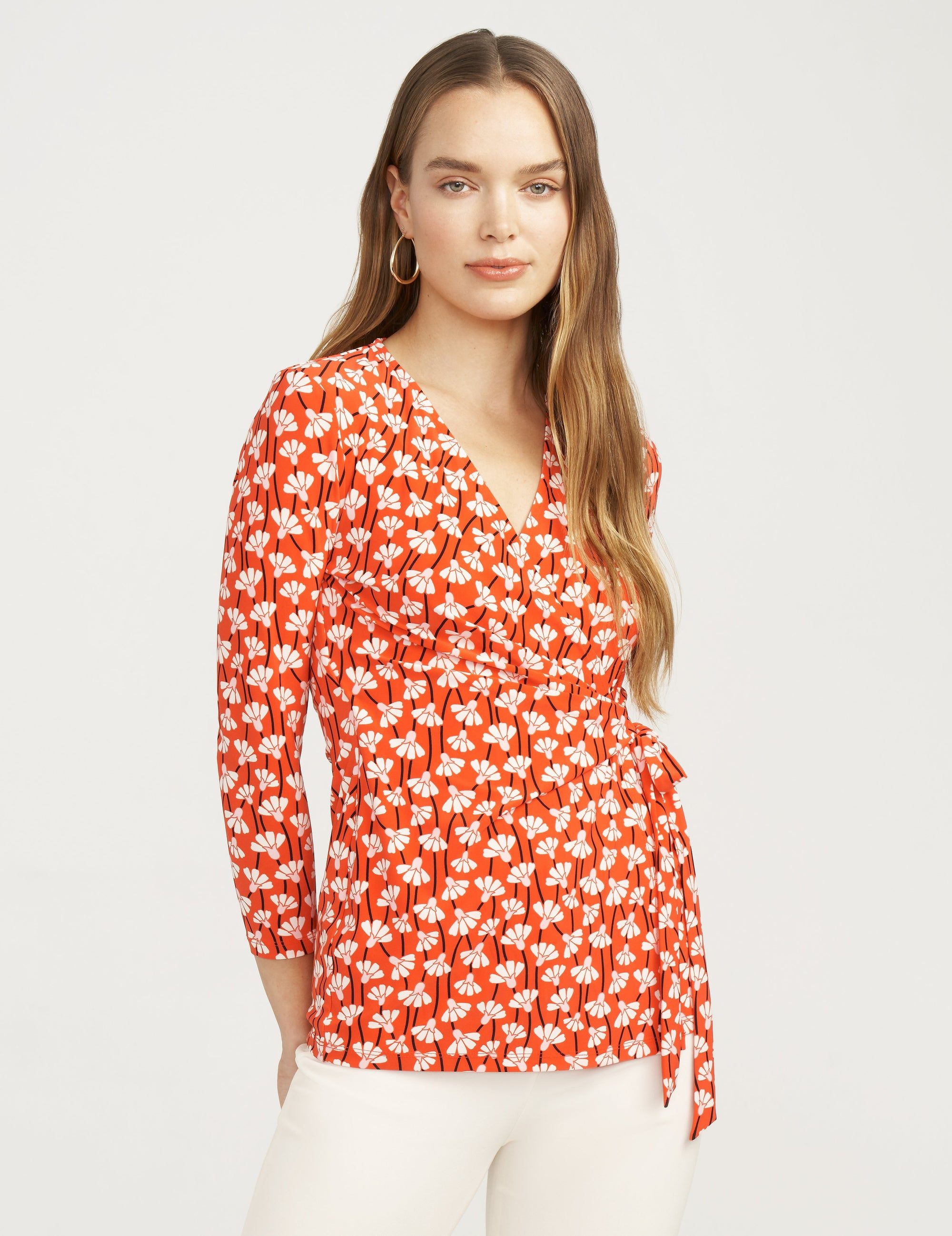 Anne Klein Primavera Print 3/4 Sleeve Faux Wrap Top Poppy/Anne White Combo