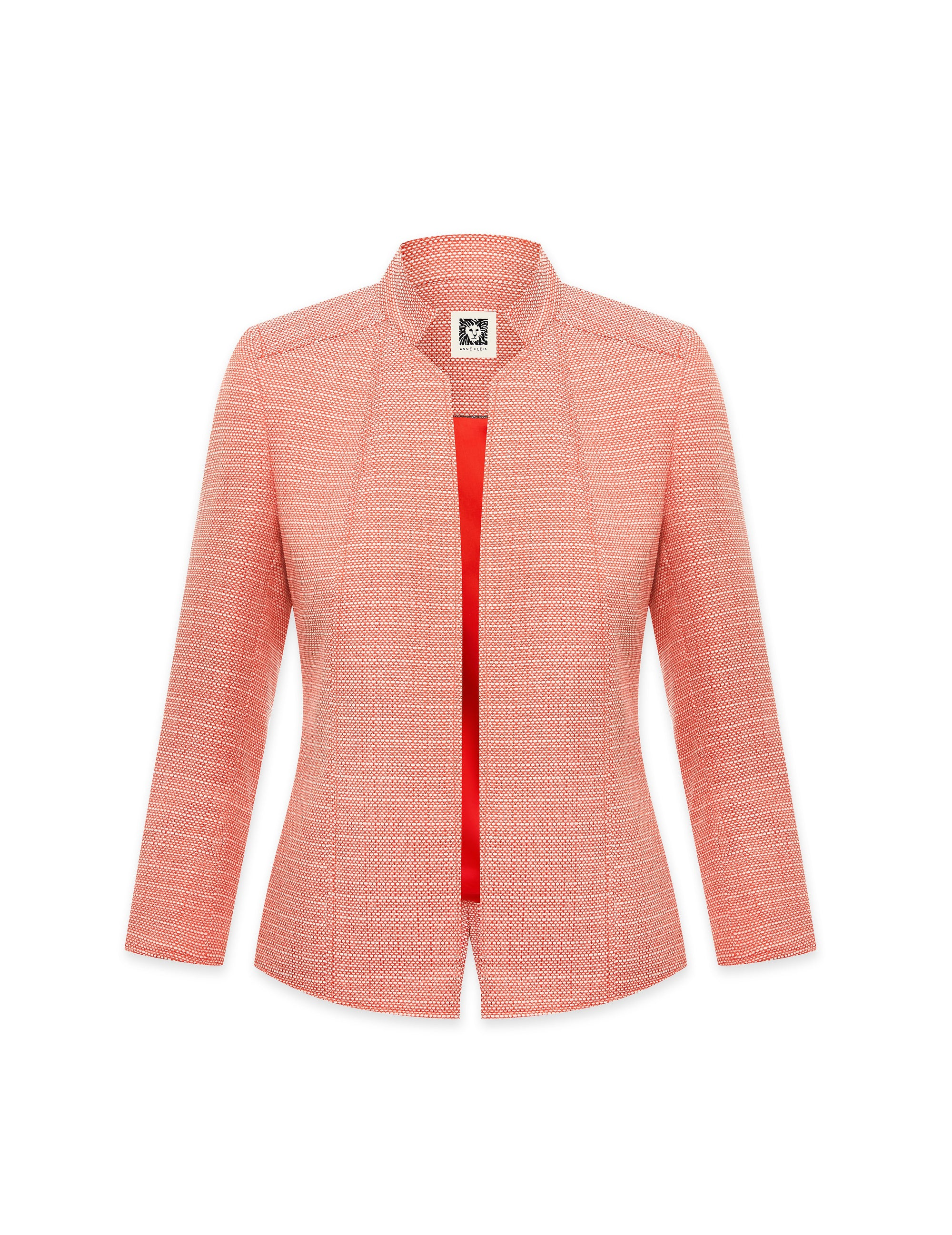 Anne Klein Ridge Crest Tweed Stand Collar Jacket Poppy/White