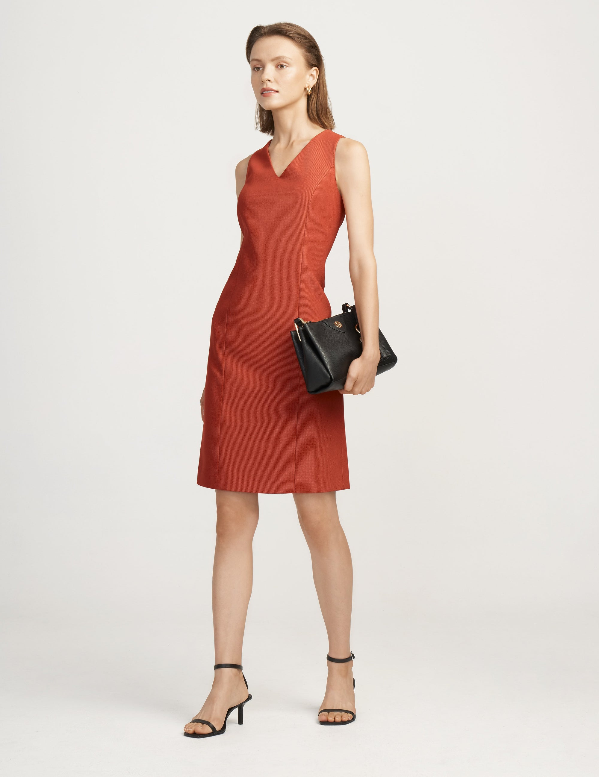 Anne Klein Cinnamon/Black Twill Sheath Dress