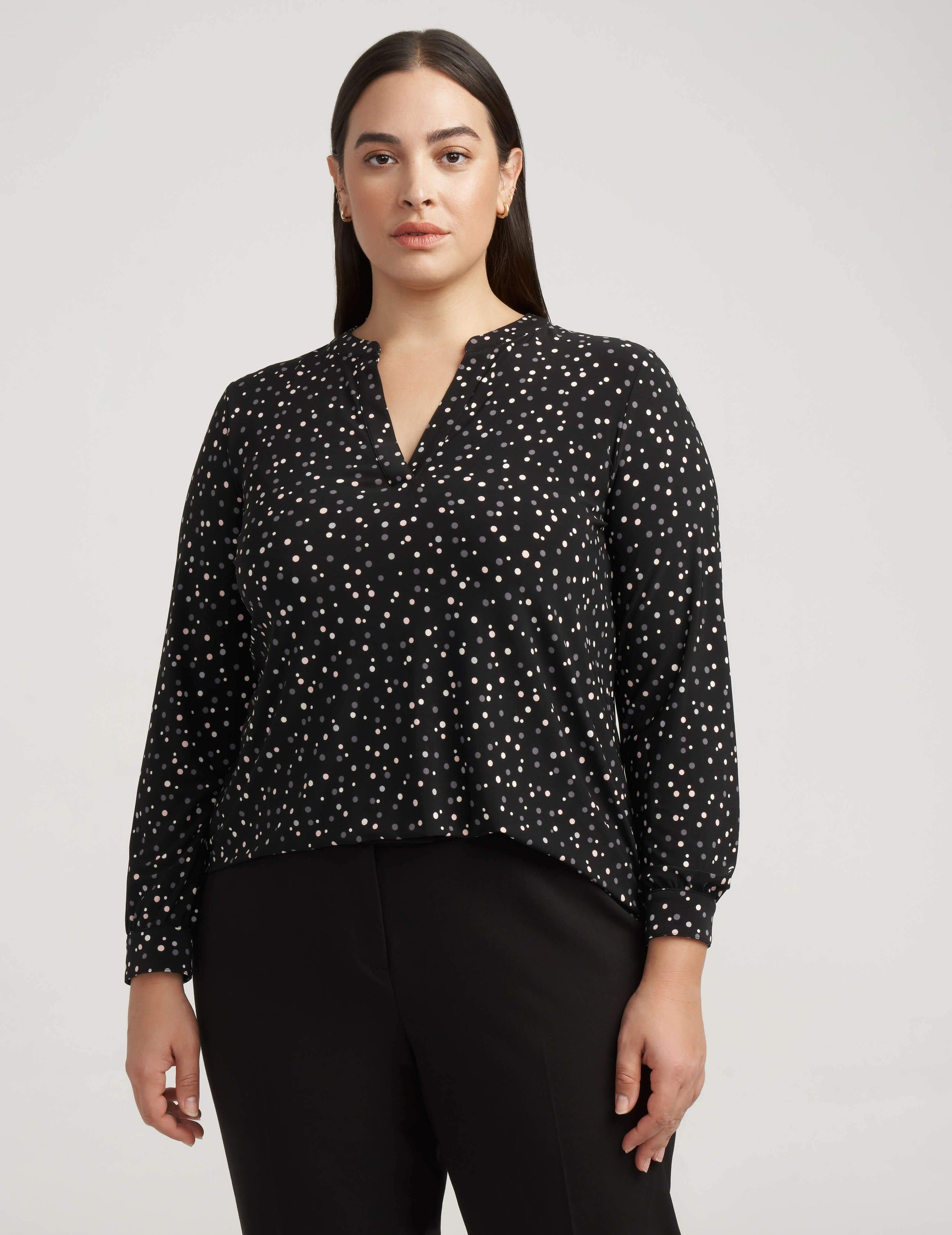 Ritz Dot Split Neck Knit Top