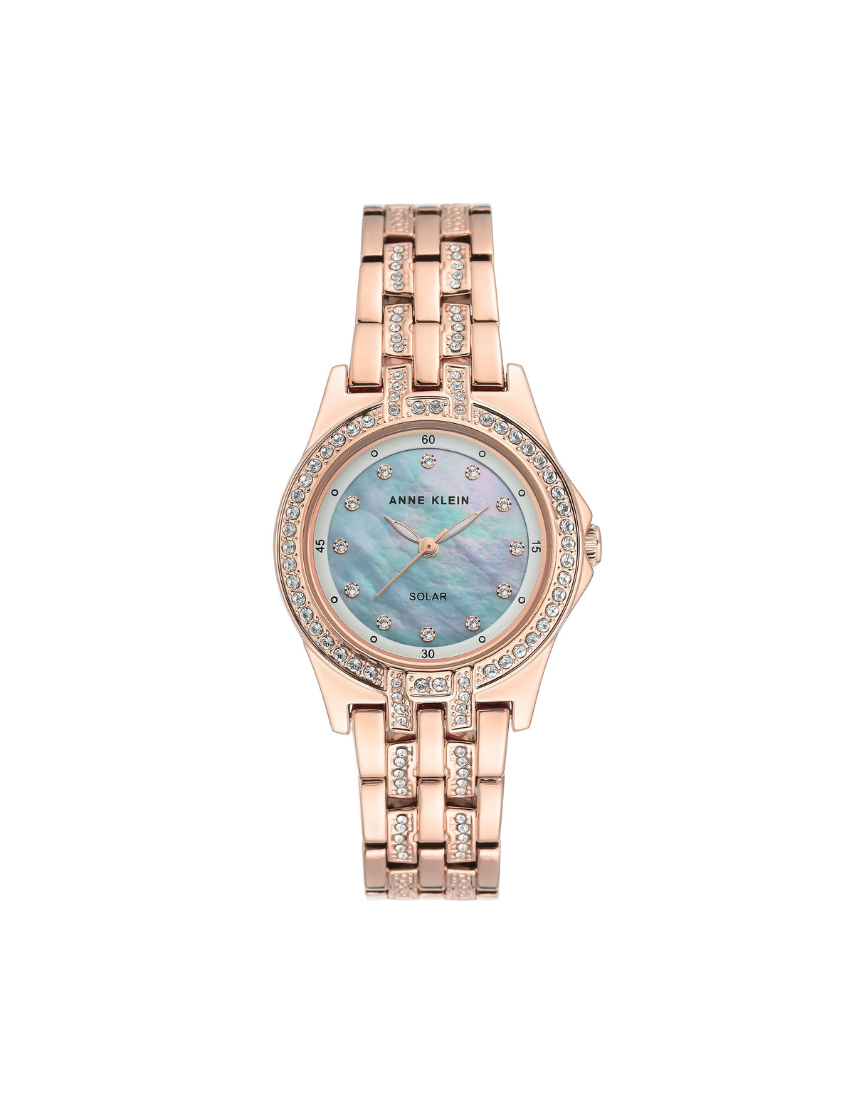 rose gold considered solar powered swarovski crystal accented bracelet watch