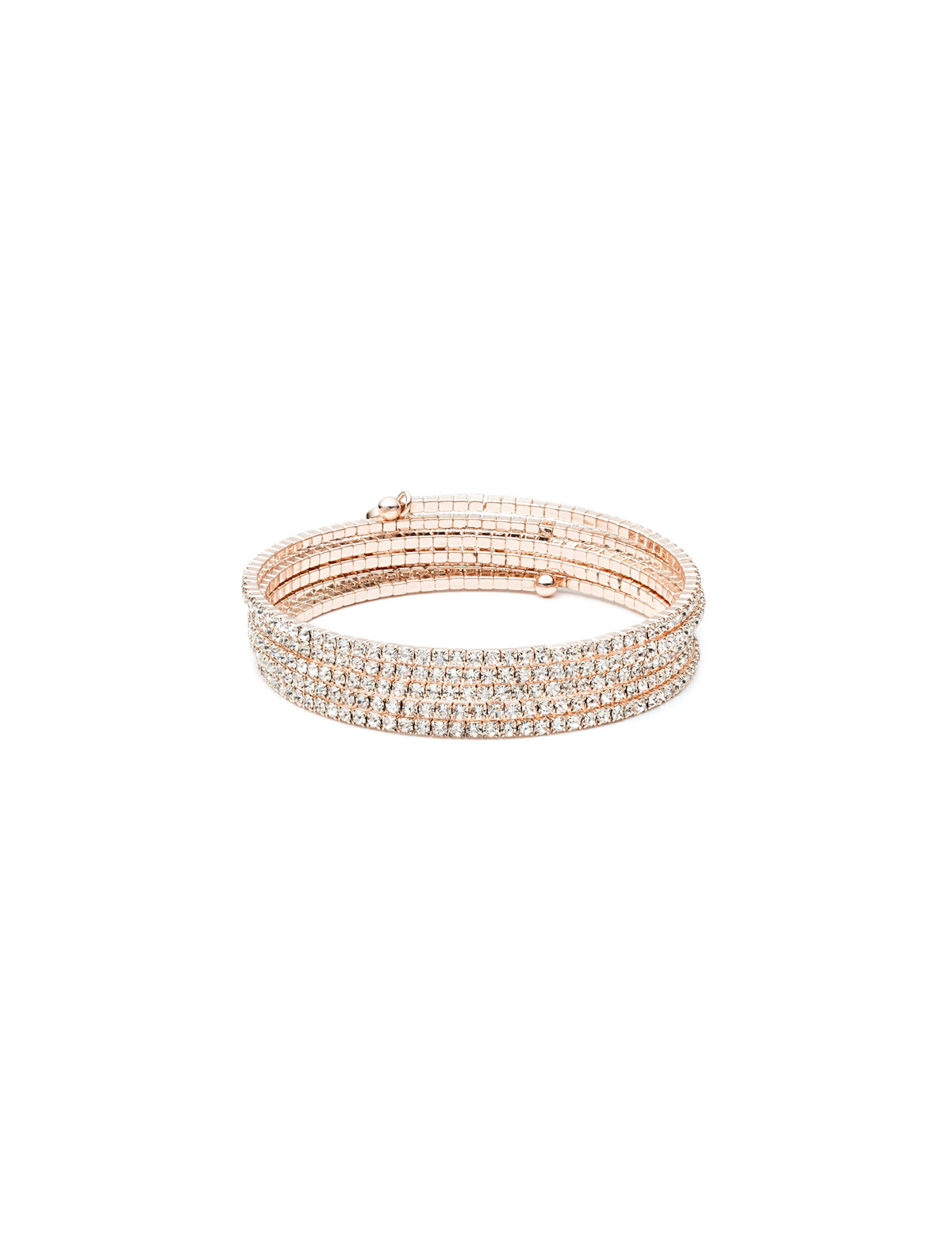 rose gold tone multi row crystal coil bracelet