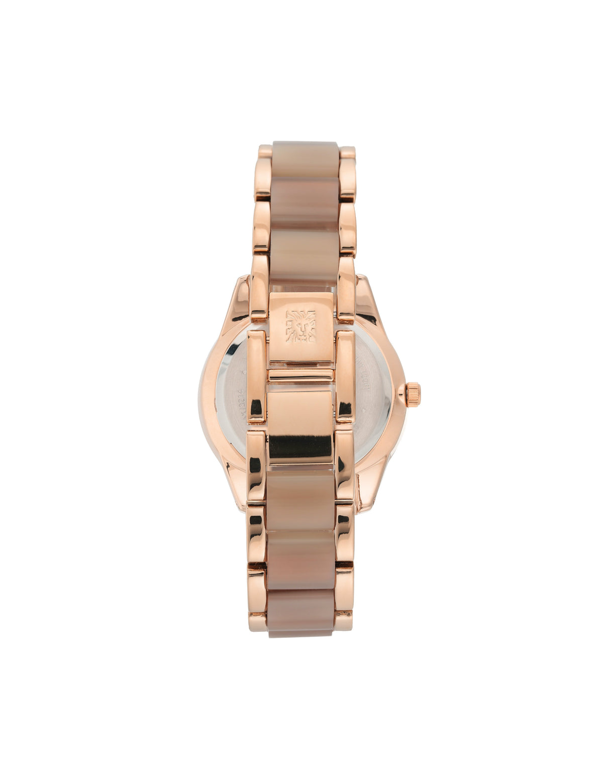 rose gold-tone tan resin bracelet watch
