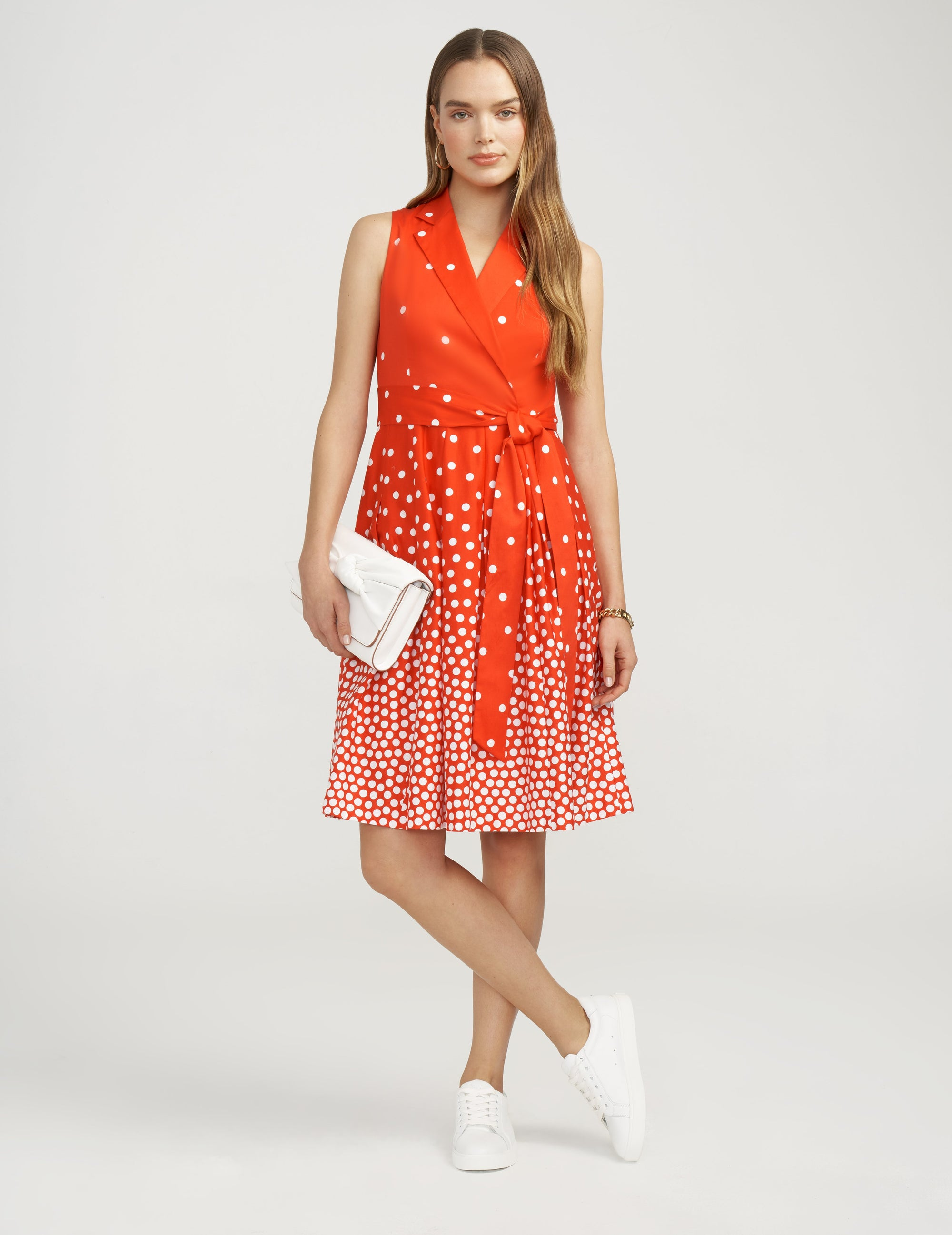Anne Klein Scattered Notch Collar Wrap Dress Poppy/White