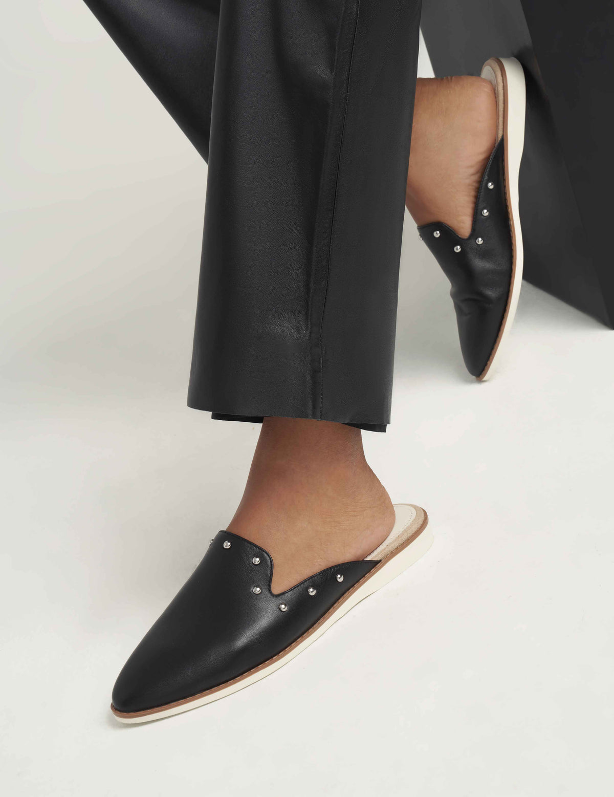 Shea Faux Leather Slip On Mules