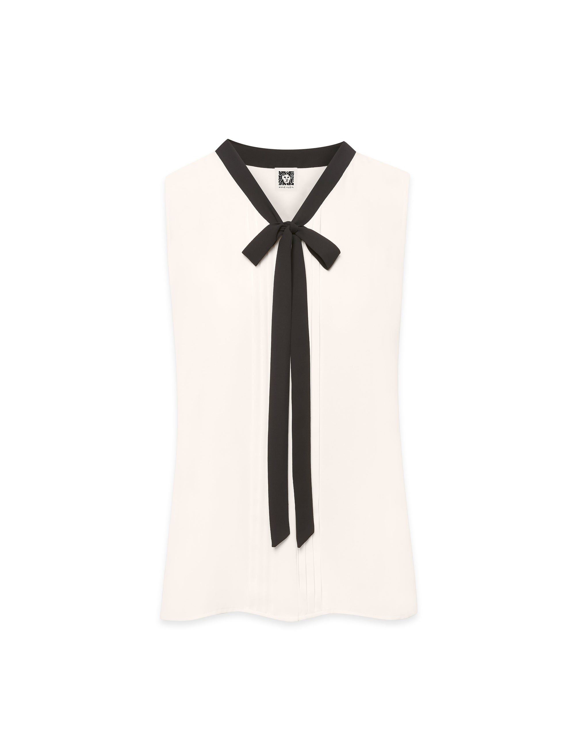 Anne White/Black Sleeveless Bow Blouse
