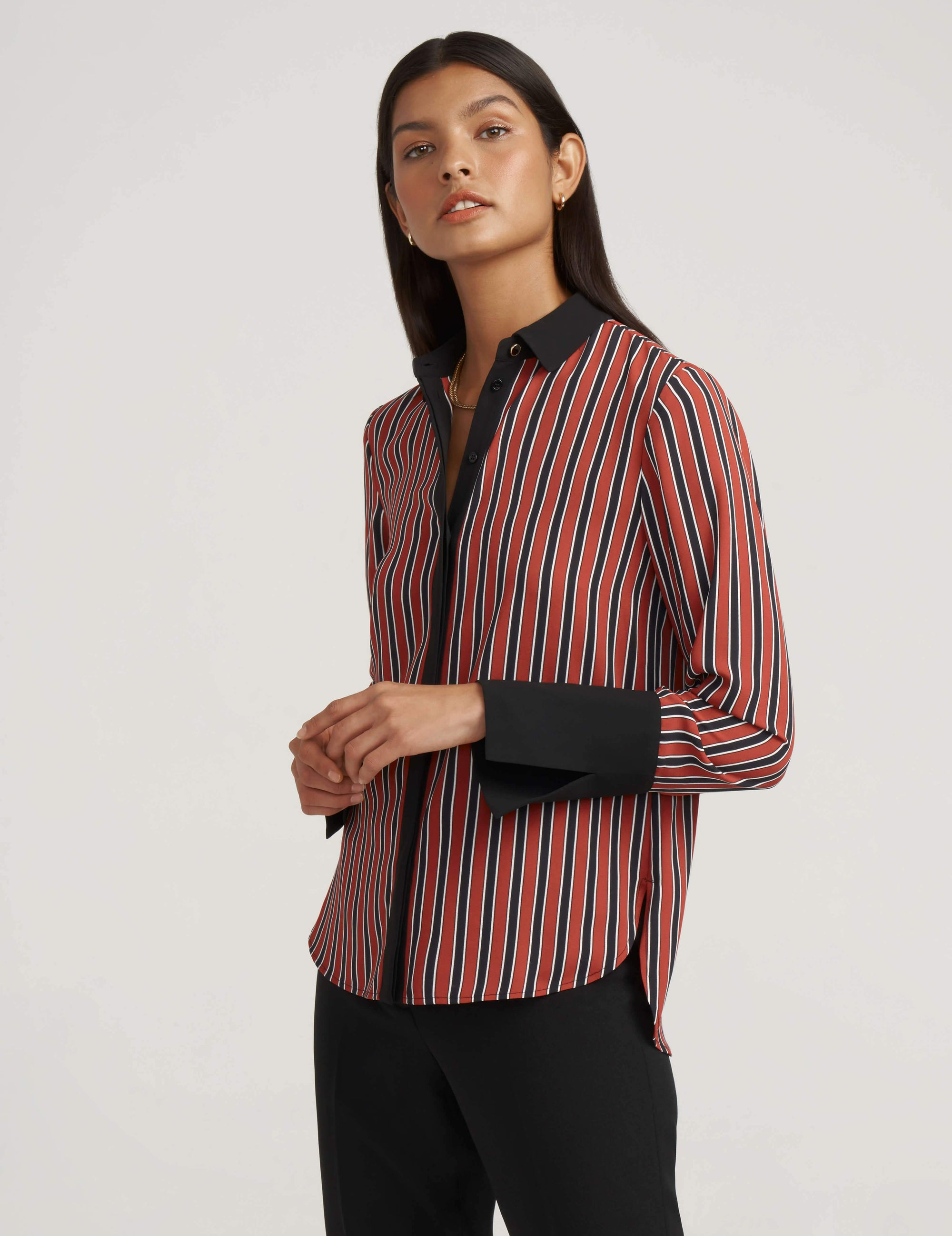 Stripe Split Cuff Blouse