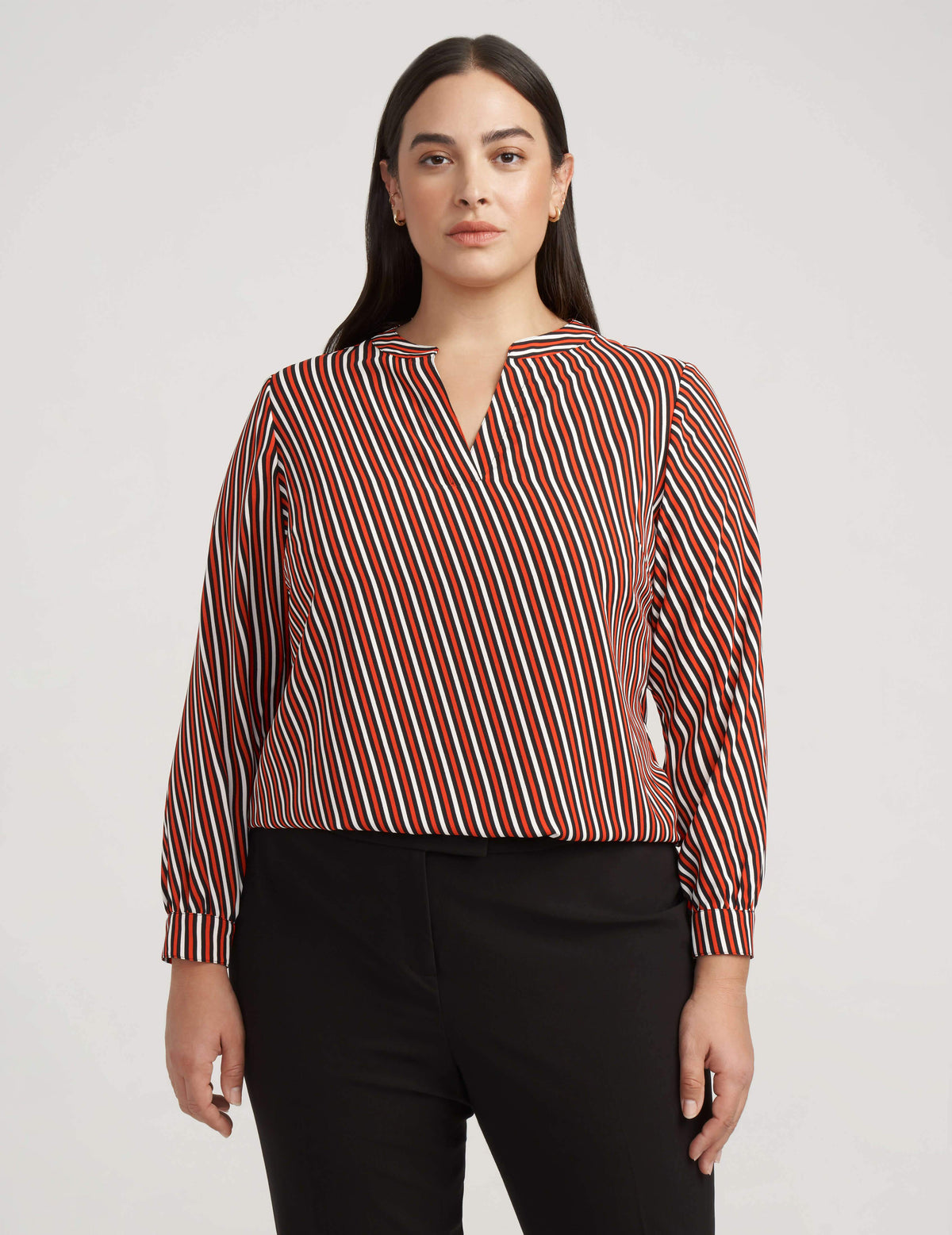 Anne Klein Stripe Split Neck Long Sleeve Blouse