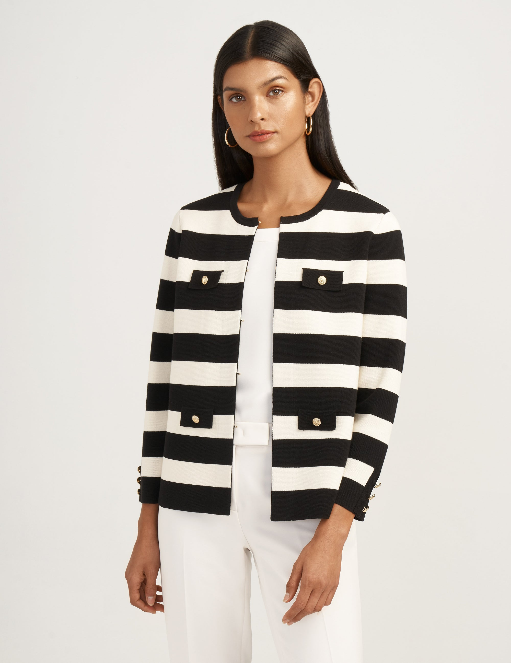 Anne Klein Black/White Striped Cardigan Jacket