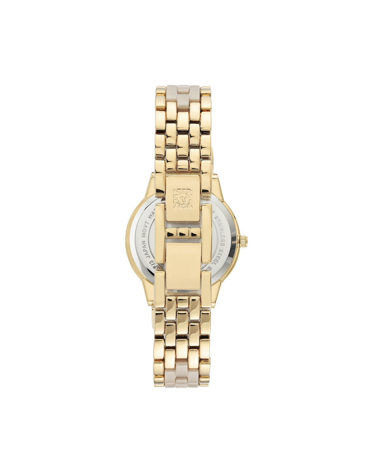 tan gold swarovski crystal accented ceramic bracelet watch