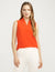 Anne Klein V-Neck Triple Pleat Top Poppy