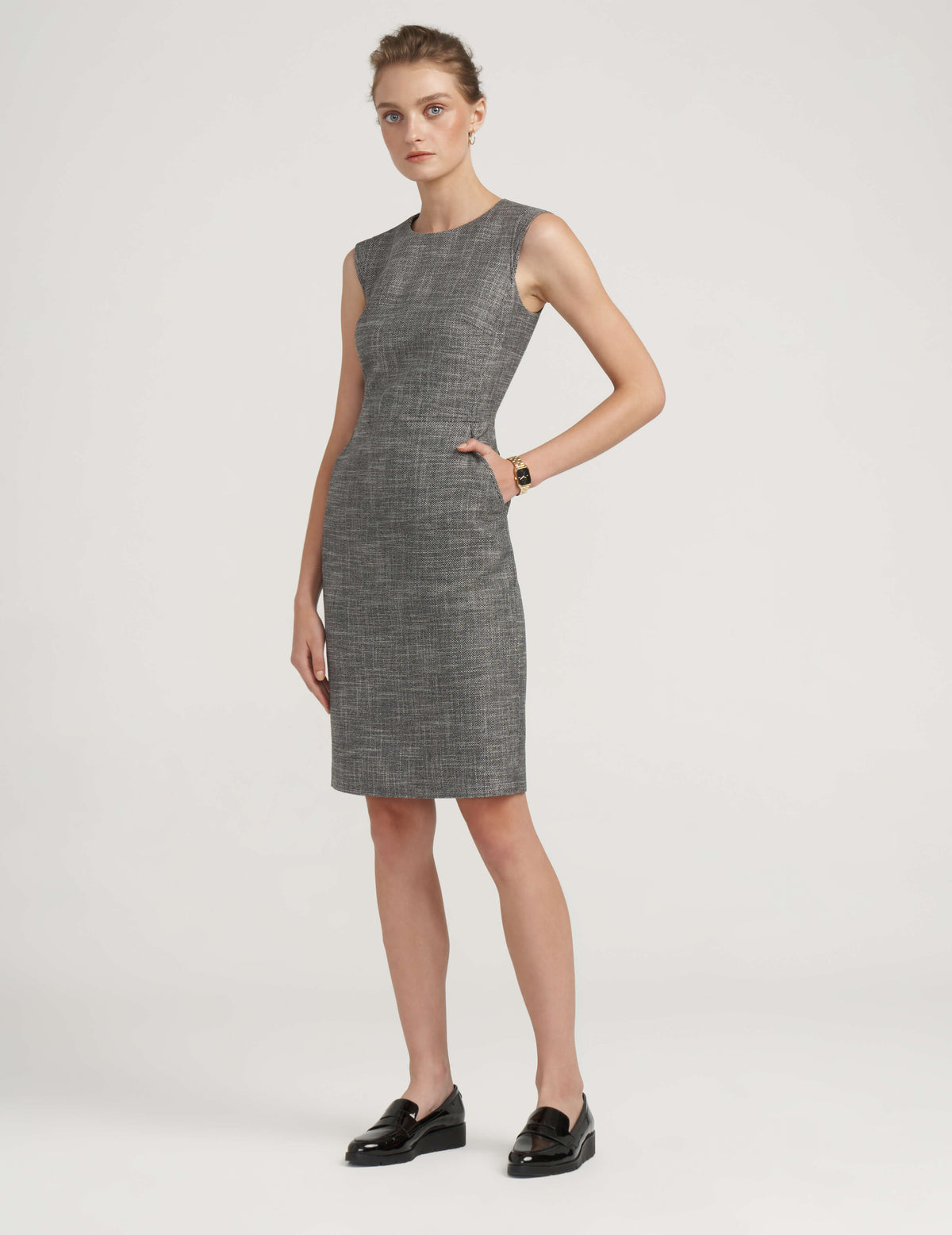 Anne Klein Tweed Extend Shoulder Dress