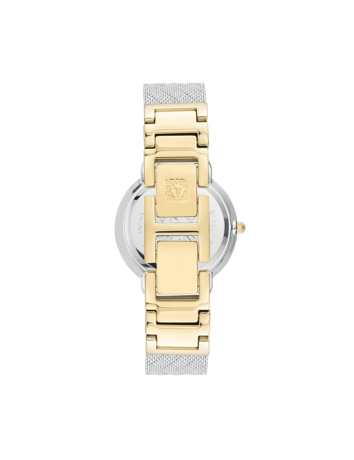 two tone mother of pearl genuine diamond dial mesh bracelet watch