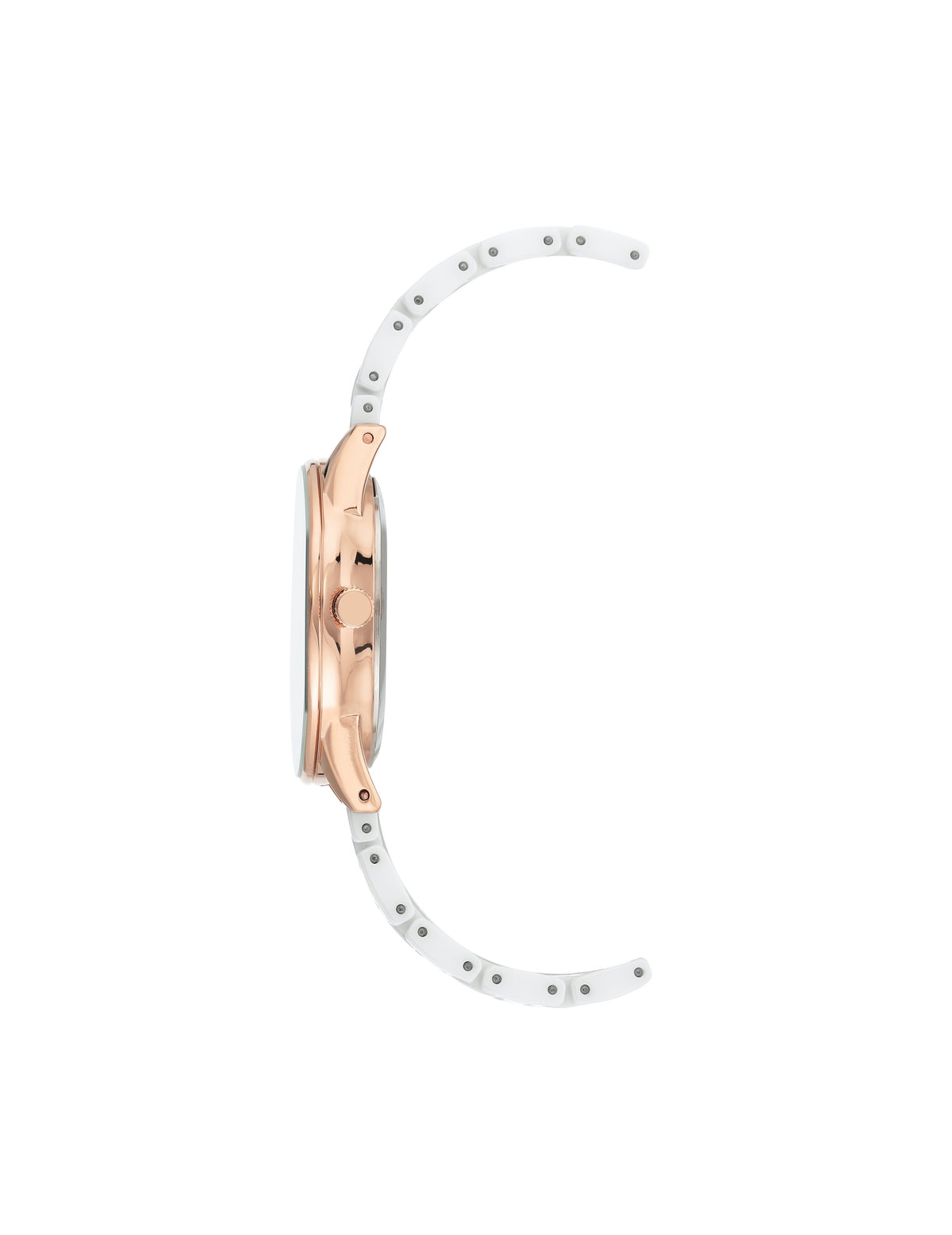 white rose gold-tone ceramic bracelet watch