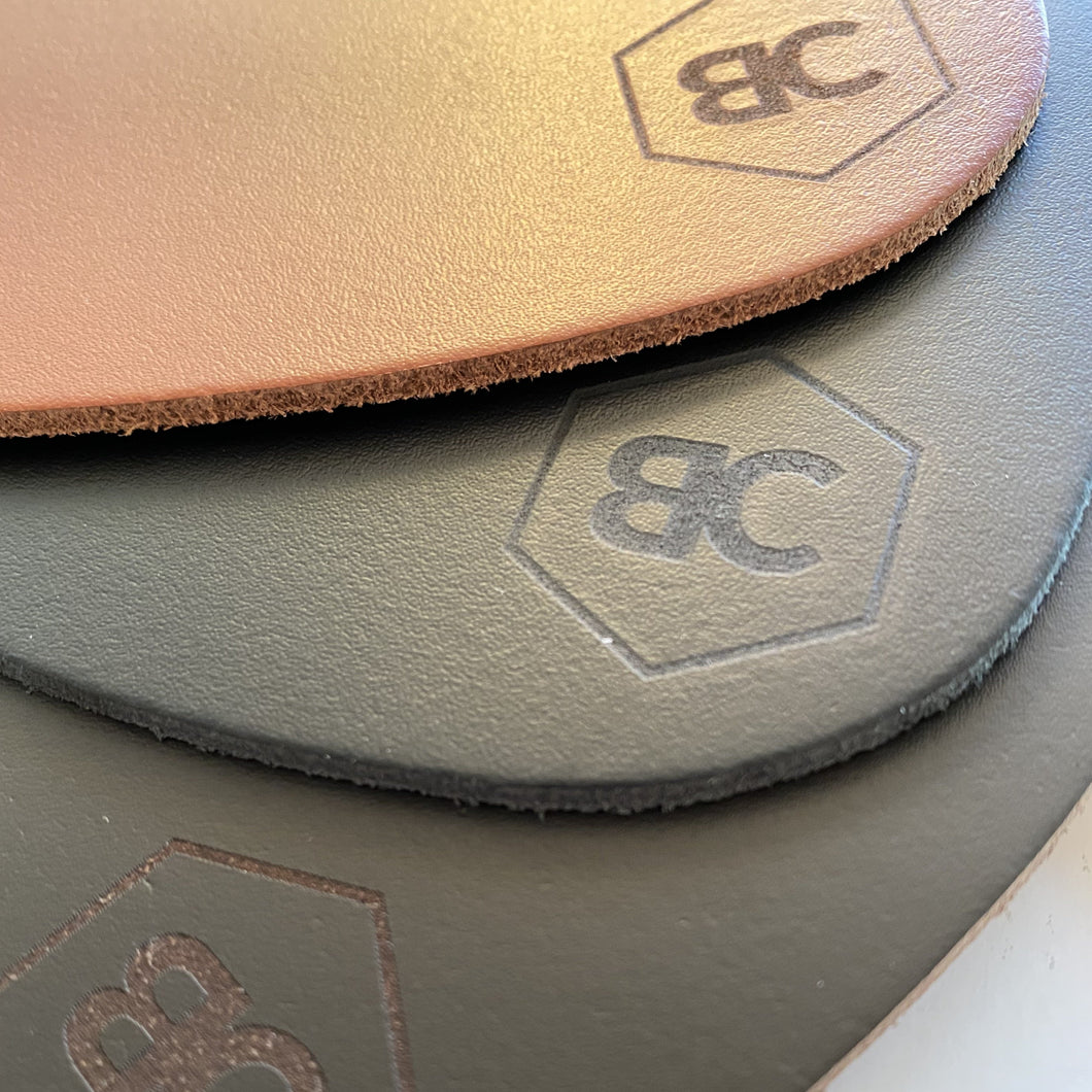 BLCK /CDR. 4 Leather Coasters - Drop