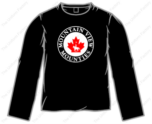 Mounties Long Sleeve T-Shirt w/ Two Color Front Crest-Adult