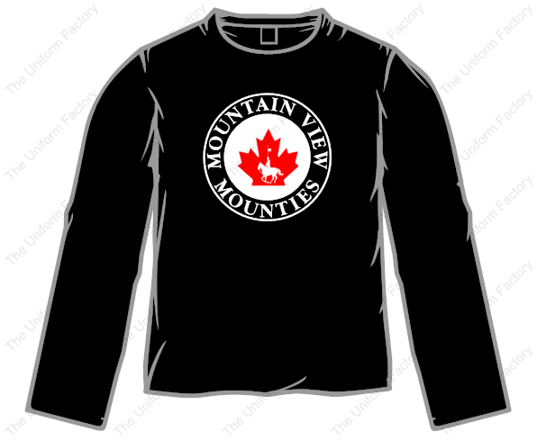 Mounties Long Sleeve T-Shirt w/ Two Color Front Crest-Youth