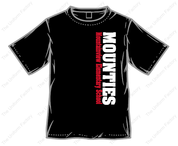 Mounties Vertical Text T-Shirt w/ Mountie Logo on Sleeve-Adult