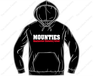 50/50 Hoodie w/ Two Color Text on Front & Mountie Logo on Sleeve-Youth