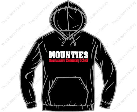 50/50 Hoodie w/ Two Color Text on Front & Mountie Logo on Sleeve-Adult