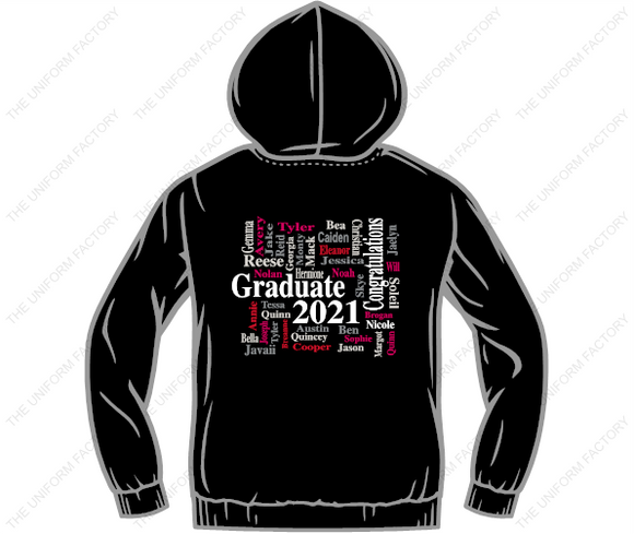 Youth  Mountain View Class of 2021 Hoody- Front Logo and Wordle Image on Back-ATCY2500