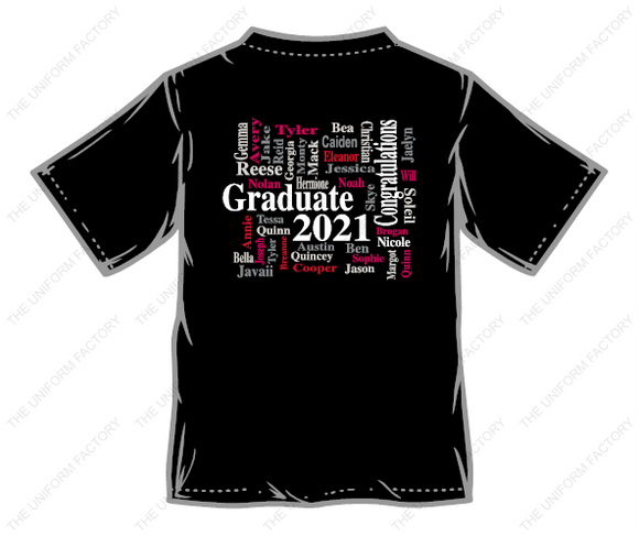Youth Mountain View Class of 2021 T-shirt Front logo and Wordle image on back