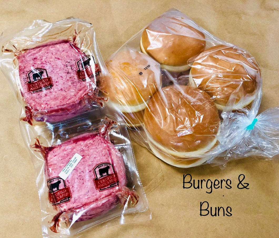 Burgers and Buns , 6/8oz. Certified Angus Beef Burgers with Buns. Buy together and save!
